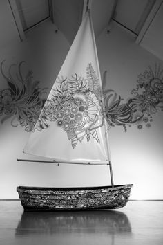 Artist: Johanna Basford ~ Wonderlands Exhibition ~ Hand embellished boat with nautical projection ~ Photography by Sam Brill ~ (pin 1 of 4) ~