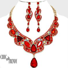 HIGH END PRINCESS RED AB CHUNKY CRYSTAL WEDDING FORMAL NECKLACE JEWELRY SET  #Unbranded