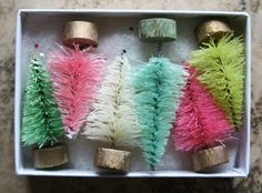 Candyland Pastel Bottle Brush Trees by juliecollings on Etsy, $10.50