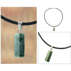 NOVICA Artisan Crafted Leather Cord Jade Pendant Necklace ($70) ❤ liked on Polyvore featuring jewelry, necklaces, jade, pendant, jade necklace pendant, jade pendant, jade jewellery, dark jewelry and novica
