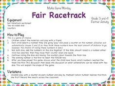 Teaching Maths with Meaning Math Game Monday - Fair Racetrack? Free Math Games, Math Activities For Kids, Math Resources, Quick Games, School Resources, Math Classroom, Kindergarten Math, Teaching Math, Teaching Ideas