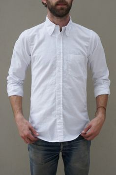 Uncle Jordan - White oxford shirt and jeans (can tuck/untuck and roll/unroll sleeves) Layer with black or grey T