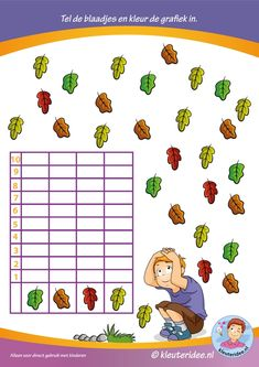 Tel de blaadjes en kleur de grafiek in, thema herfst voor kleuters, kleuteridee. Class Activities, Autumn Activities, Primary School, Pre School, Learning Numbers, Educational Toys For Kids, Math For Kids, Autumn Theme, Kids Education