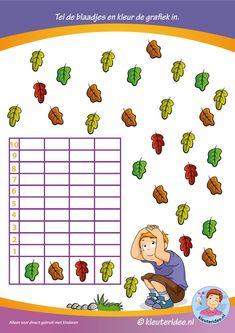 * Tel de blaadjes en kleur de grafiek in! kleuteridee.nl.
