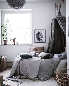 Breathtaking space by @styledbyemmahos ♡ Grey/Silver Numero74 canopy arriving back in stock next month. Pre-order yours so you don't miss out! #fridayinspo #styledroom #greyongrey #canopy #numero74 #hellolittlebirdie