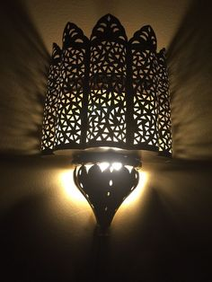 Moroccan Traditional Brass Plated Carved Iron Tin Wall Light Sconce  #Handmade #Moroccan Moroccan Table Lamp, Moroccan Furniture, Wall Sconce Lighting, Sconces, Tin Walls, Lanterns, Cool Art, Plating, Wall Lights
