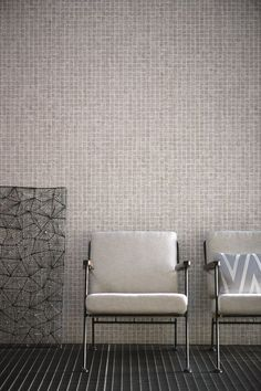 An iridescent wallpaper with a small square tile motif. This wallpaper design features a strong resemblance to a mosaic with textured grit in the grout for added effect. Available from www.silkinteirors.com.au #wallpaper #wallpaperforwalls