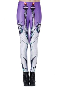 Statue Of Liberty Print Blue Leggings. Description These Leggings have been crafted from elastic fabric design, featuring Statue of Liberty print, a stretchy waist and all in a soft-touch stretch finish. Fabric Dacron and Spandex. Washing 40 degree machine wash , low iron. #Romwe