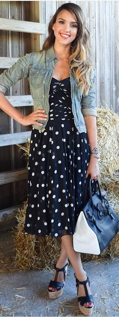 love the pairing of the sundress, denim jacket, and wedges - so cute!