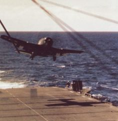 F6F-5 Hellcat waved off from landing aboard USS Tulagi during Operation Dragoon