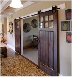 Sliding Barn Doors for Unique Interior Design Ideas. A barn door is a door characteristic of a barn. They are nearly always found on barns, and because of a barn's tendency it be immense, doors are subsequently big for utility. House Design, House, Home Projects, Interior, Traditional House, Home, Contemporary Style Homes, Home Remodeling, Traditional Home Office