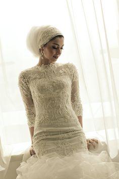 Bridal Headscarf Veil Inspiration, Hijab bride, modest bride #PerfectMuslimWedding.com