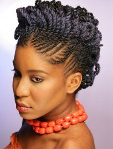 Two strand twist protective style updo