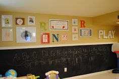 Kids play room area, framed art work and chalk wall.