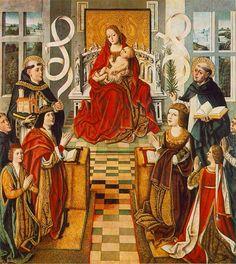 Madonna dei Re Cattolici, pittura del 1490-95; Ferdinando II ed il principe Giovanni alla destra della Madonna e Isabella alla sinistra