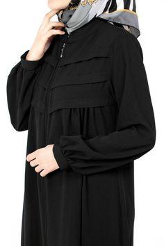 Robalı Pileli Ferace DF-11050-01-Siyah Abaya Fashion, Muslim Fashion, Women's Fashion Dresses, Hijab Style Dress, Casual Hijab Outfit, Modest Outfits, Skirt Outfits, Kebaya Dress, Iranian Women Fashion