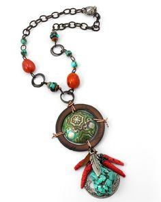 Santa Fe Necklace featuring the Vintaj Artisan Pewter Scrolled Framework Pendant