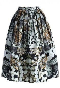 Jewelry Box Pleated Midi Skirt