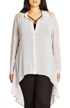 City Chic 'Cheeky Cowl' High/Low Shirt (Plus Size) available at #Nordstrom