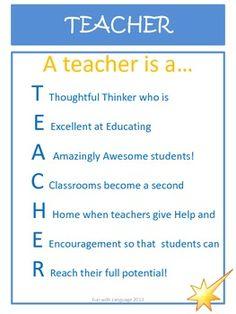 FREEBIE! A teacher is a ...