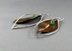 Autumn leaves. Gold leaf earrings brass. by nataliasjewellery
