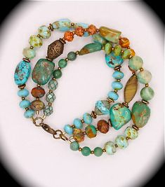 One-of-a-kind three strand natural turquoise bracelet