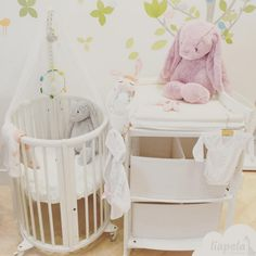 Perfect solution for small spaces  We especially love this set because you can have the bassinet and the changer with out taking up too much room.  Like on Instagram @LiapelaModernBaby