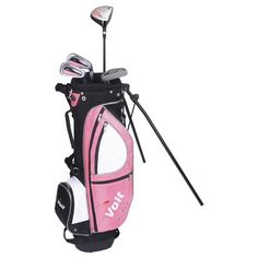 Voit Xp Junior Golf Club Set and Pink Stand Bag (for Girls ages Junior Golf Clubs, Ladies Golf Bags, Cleveland Golf, Golf Club Sets, Umbrella Holder, Golf Training, Aleta, Face Design, Classic Collection