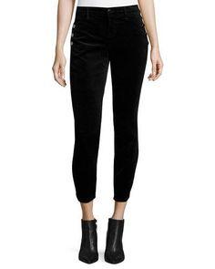 Zion Mid-Rise Velvet Skinny Ankle Jeans, Black