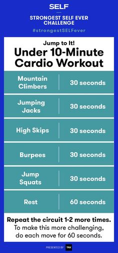 This advanced bodyweight cardio routine is from the Strongest SELF Ever challenge. It's less than 10-minutes and requires zero equipment, so, yes, you could do it right now! Get ready for mountain climbers, jumping jacks, squats, and more!
