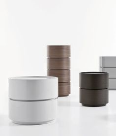 """:: FURNITURE :: pianca italy   dedalo round table with drawer Small round side table with drawer, suitable for stacking, in 2 sizes: 44 cm and 57 cm diameter. Available in dark oak, grey oak, walnut, or matte and glossy lacquer in white, ivory, grigio nuvola (light grey), and tortora. dedalo single drawer 57 cm diam 22.44"""" diameter x 10.23"""" h $1,040.00   in wood   grey oak available at Spencer Interiors #furniture #sidetable #storage #PiancaItaly #SpencerInteriors"""
