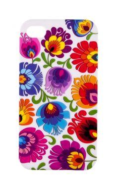 Etui na iPhone 4 białe FOLK FLOWERS - tradycyjna wycinanka łowicka - kolorowe kwiaty