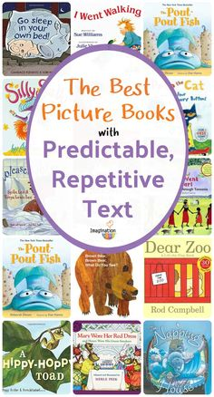 Picture books with predictable, repetitive text develop language and literacy skills in all ages of growing readers from birth on up. Best Children Books, Toddler Books, Childrens Books, Kindergarten Books, Preschool Books, Montessori Books, Reading Activities, Literacy Activities, Reading Lists