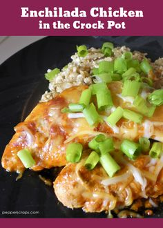 This Enchilada Chicken in the Crock Pot looks amazing!