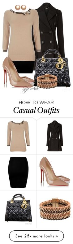 """Casual"" by alice-fortuna on Polyvore featuring Burberry, Wallis, Christian Dior, Christian Louboutin, Amour de Pearl and Chicnova Fashion"