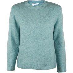 Derek Lam 10 Crosby Mint Shrunken Long Sleeve Crew Sweater ($182) ❤ liked on Polyvore