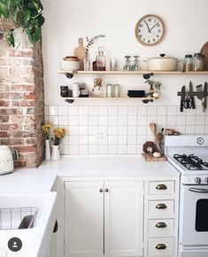 stacked square white tile in simple kitchen
