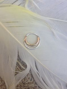 Silver and gold septum ring by theglorious on Etsy