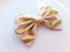 Girls/Baby Hair Bow Pink/Gold Chevron Bow by BowtiquebyprincessT, $6.90