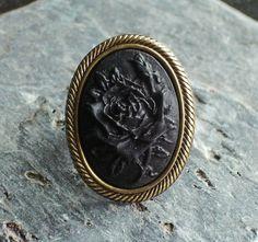 Black rose cameo ring. by jillian1984 on Etsy, $14.00