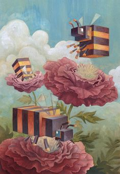 Laura Bifano abstract geometrical animal drawings. Animal Paintings, Animal Drawings, Acrylic Paintings, Art Drawings, Pixel Art, Illustration Arte, Plakat Design, Ouvrages D'art, Bee Art
