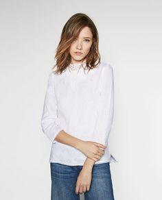 Image 4 of HIGH COLLAR LINEN BLOUSE from Zara