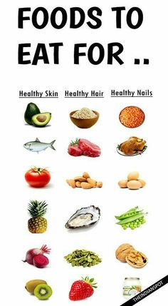 FOODS TO EAT FOR HEALTHY SKIN, HAIR AND NAILS We all want to look beautiful! With that said, it is very obvious we need good skin, hair and nails and most of us apply stuff topically to look good. We are what we eat and a healthy diet can cert… Healthy Skin Care, Healthy Tips, Healthy Hair, Healthy Snacks, Healthy Recipes, Healthy Junk, Healthy Beauty, Eat Healthy, Diet Recipes
