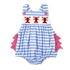 1e45a1dece5 Baby Girl NWT size 24 Months LOBSTER Ruffled Rear ROMPER Sunsuit Outfit 24M   Remake