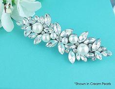 Swarovski Crystal Marquise Rhinestones and Swarovski Pearls Wedding Barrette - Bridal hair accessories (*Amazon Partner-Link)