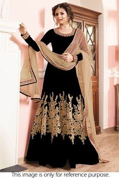 This Exclusive Anarkali Suit Is An Ultimate Party Wear Collection With The Mesmerizing Colours Of Black . With The Artistic Embroidery  And  Leave No Stone Unturned And Be At Your Fashionable Best. Ba...