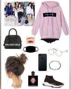 Credits to: abratasas🐰🐰🐰 Korean Fashion Dress, Blackpink Fashion, Kpop Fashion Outfits, Stage Outfits, Edgy Outfits, Dance Outfits, Girls Fashion Clothes, Cute Fashion, Korean Outfits