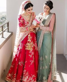 """Real Brides in Lightweight Bridal Outfits prove """"Less is More"""" Acing the traditional red bridal look but with a rather light lehenga ! Wedding Lehnga, Indian Bridal Lehenga, Indian Bridal Outfits, Indian Bridal Wear, Indian Designer Outfits, Indian Dresses, Indian Clothes, Saree For Wedding, Latest Bridal Lehenga"""