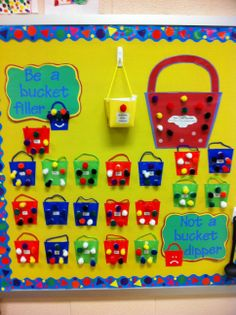 Classroom management system based on the bucket filler books. Manages class as a whole as well as individual students. Students get reward for a full bucket. Next year Classroom Board, Classroom Behavior, Classroom Displays, Kindergarten Classroom, Future Classroom, School Classroom, School Fun, Classroom Organization, Classroom Decor