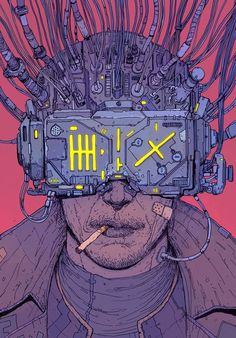 Perceptivo Jean Giraud, Cyberpunk 2020, Cyberpunk Art, Hacker Art, Shadowrun, Electric Sheep, Illustration Main, Digital Illustration, William Gibson